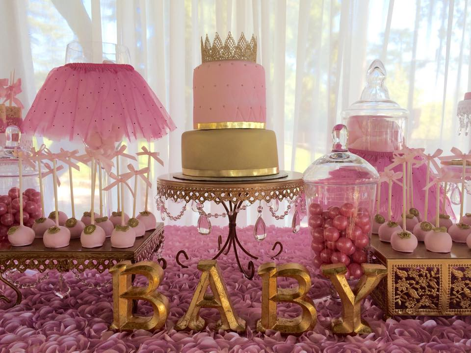 Tutu and tiara baby shower baby shower ideas themes games - Pink baby shower table decorations ...