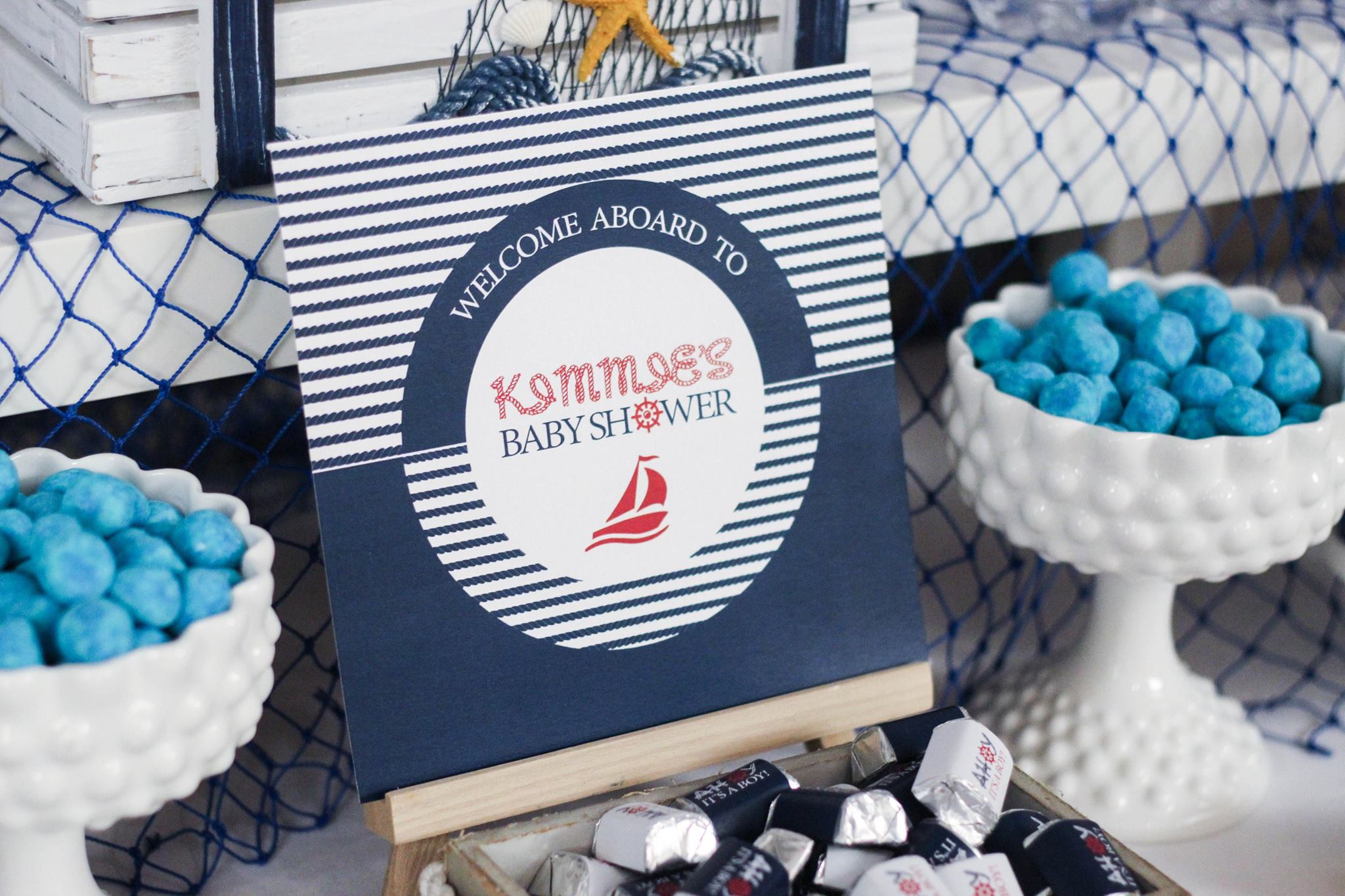 nautical themed baby shower welcome sign