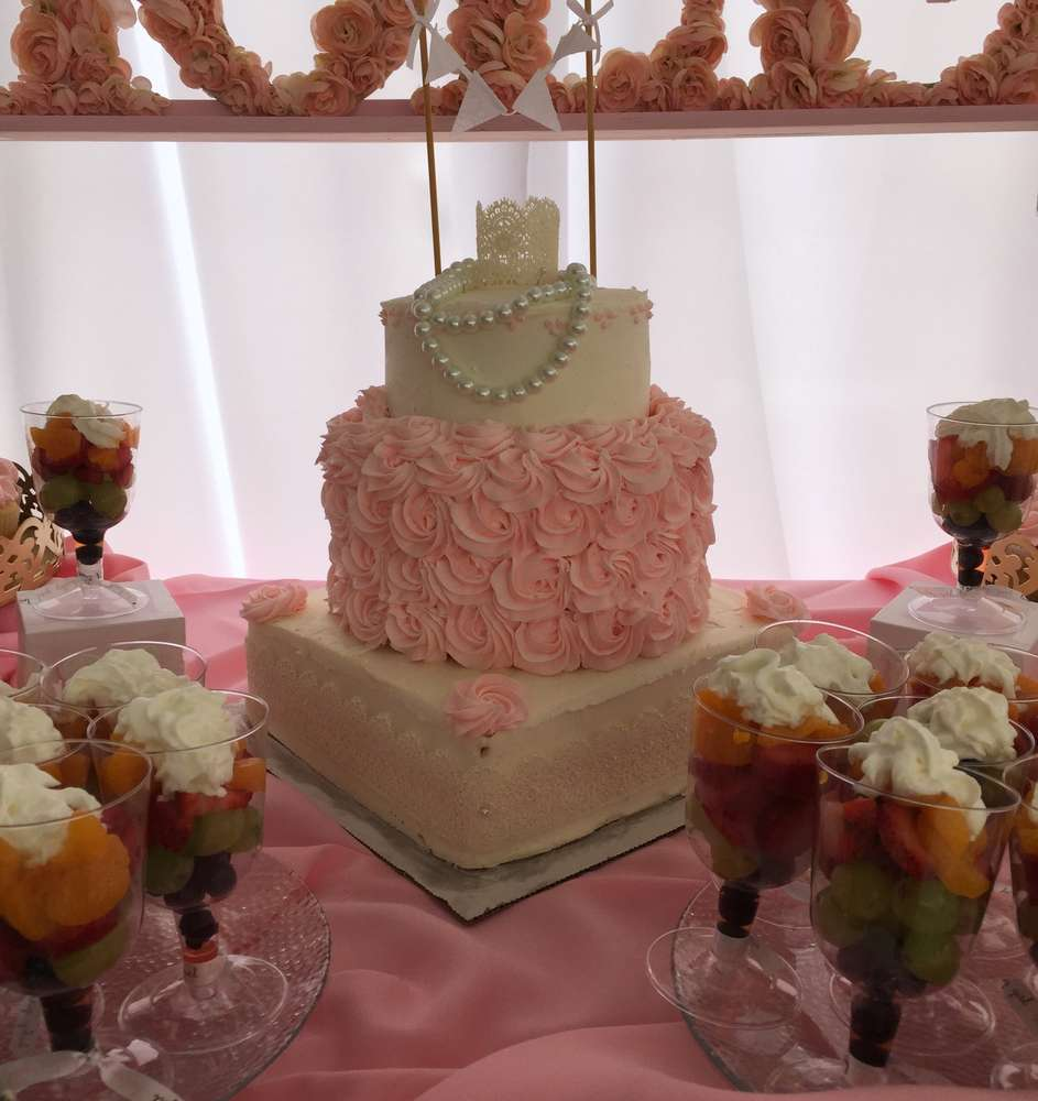Elegant Shabby Chic Baby Shower Cake Centerpiece ...