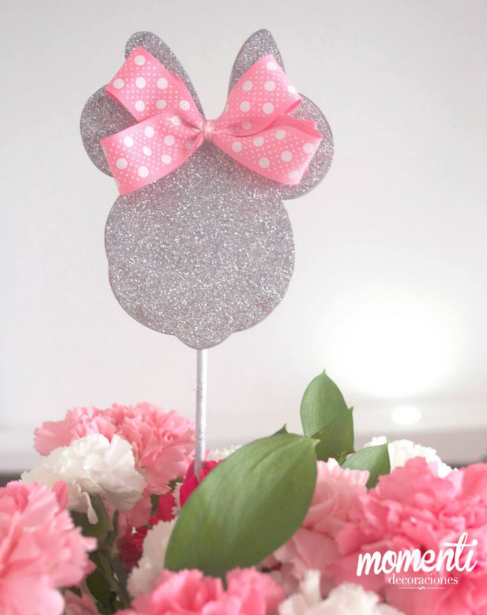 Pink Minnie Mouse Baby Shower centerpiece in silver glitter - Baby ...