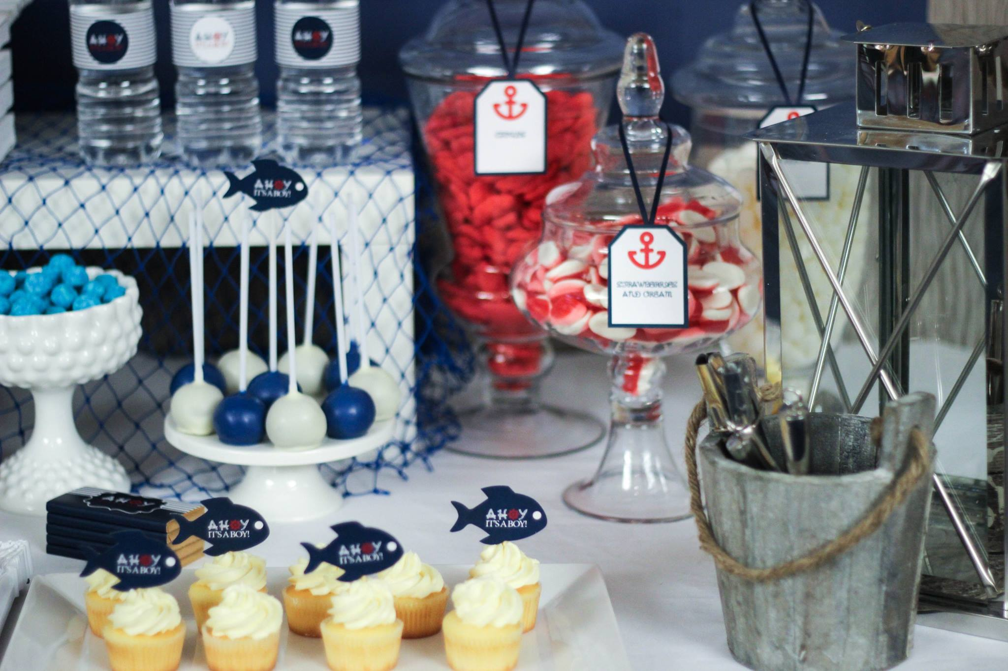 ahoy nautical baby shower decoration ideas dessert buffet table