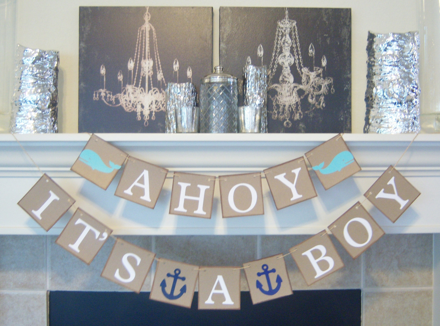 ahoy it 39 s a boy baby shower banner nautical theme baby shower ideas