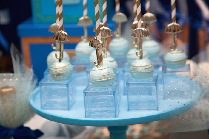 Royal Prince Baby Shower Cakepops With Umbrella
