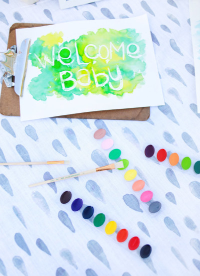 Sprinkle Baby Shower baby item station, paint
