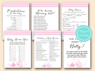 Baby Girl Whale Baby Shower Games Pack Tlc117  ...