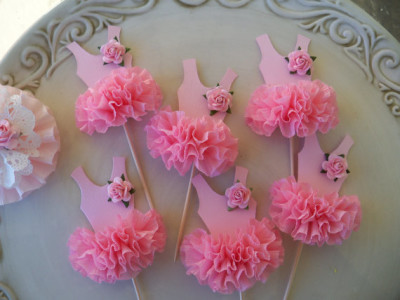 Ballerina Tutu Baby Shower Toppers And Decoration. Ballerina Toppers