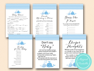 ... Blue Baby Whale Baby Shower Game Pack Blue  ...