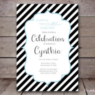 Free Stripes baby shower Invitation
