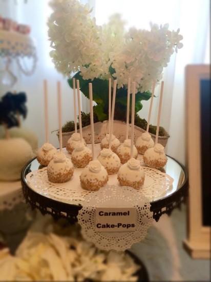 Black and White Shabby Chic Baby Shower caramel cake pops