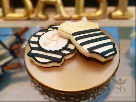 Black and White Shabby Chic Baby Shower cookies