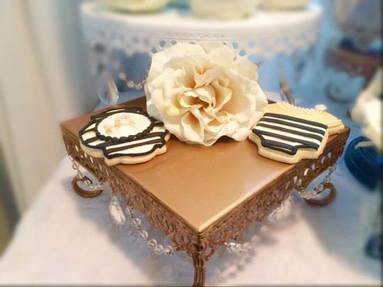 Black and White Shabby Chic Baby Shower cookies in gold black and white