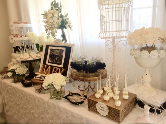 Black and White Shabby Chic Baby Shower dessert table