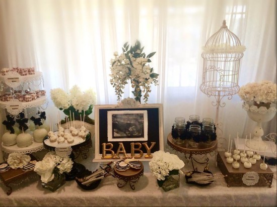 Black and White Shabby Chic Baby Shower dessert table, treats