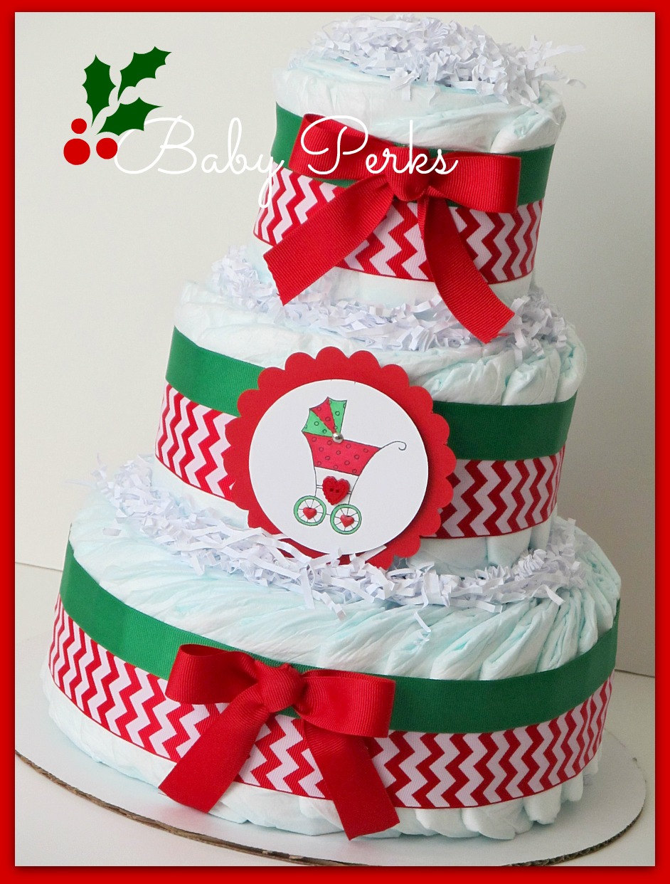 Christmas Baby shower Diaper cake
