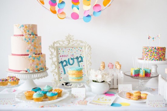 Confetti & Sprinkles Baby Shower dessert table and confetti pennants