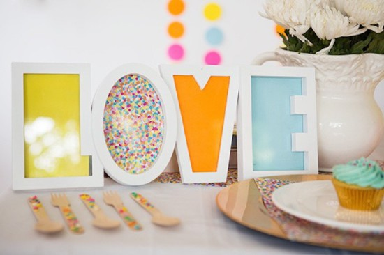 Confetti & Sprinkles Baby Shower, love sign