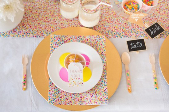 Confetti & Sprinkles Baby Shower table setting for guests, thank you gift