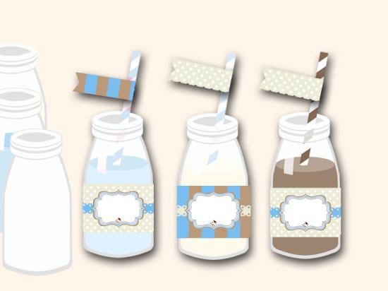 free blue baby shower bottle wrappers and matching flag toppers