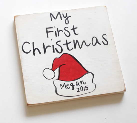 personalized first Christmas decor wooden sign