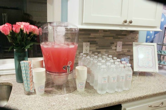 Little Man or Little Lady Gender Reveal drink station with pink and blue custom labels