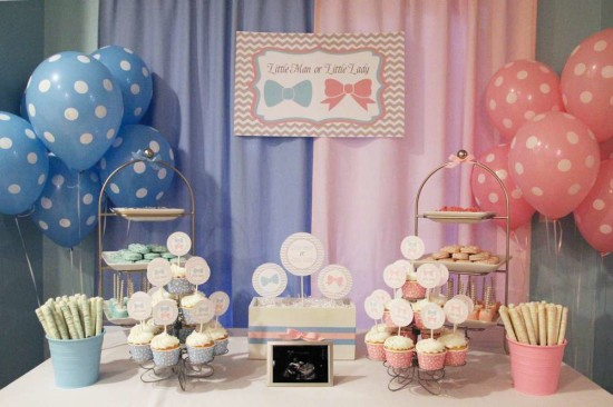 Little Man or Little Lady Gender Reveal party food ideas, dessert table