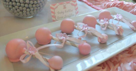 Pink Tutu Twin Baby Shower cake pops in rattle