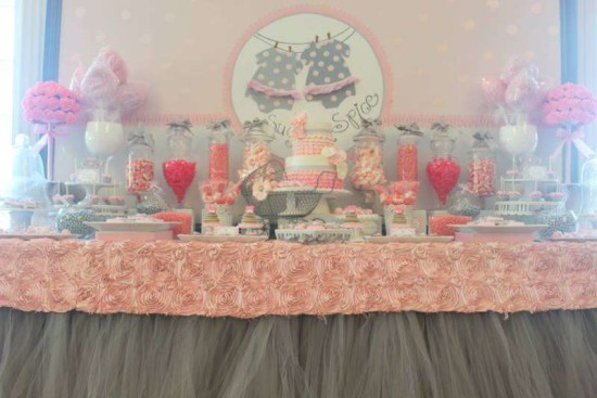 Pink Tutu Twin Baby Shower dessert table overview with lovely table cover and skirting