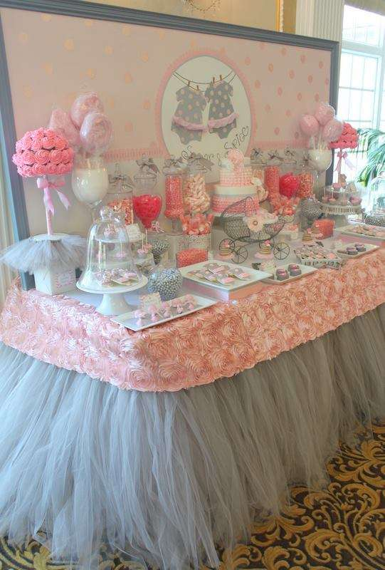 Pink tutu twin baby shower baby shower ideas themes games - Pink baby shower table decorations ...