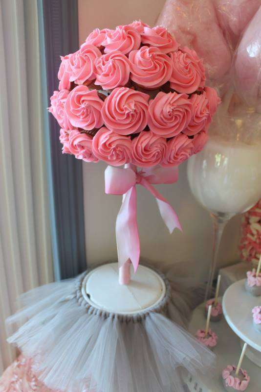 Pink Tutu Twin Baby Shower flower made of cupcakes