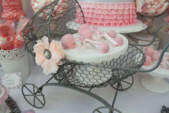 Pink Tutu Twin Baby Shower rattle treat on carriage
