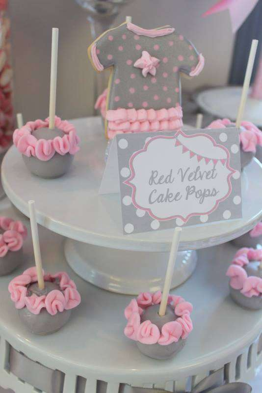 Pink Tutu Twin Baby Shower red velvet cakepops