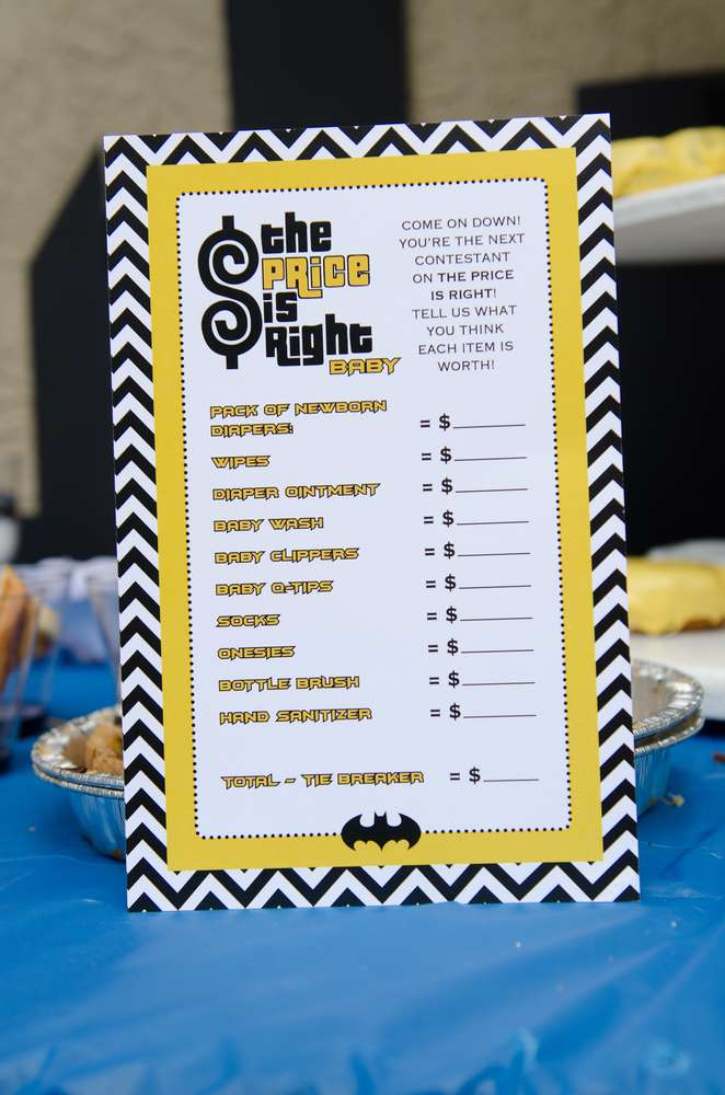 Batman Baby Shower Game Price Is Right Baby Shower Ideas Themes