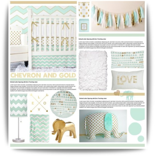 chevron, mint and gold baby nursery decoration ideas