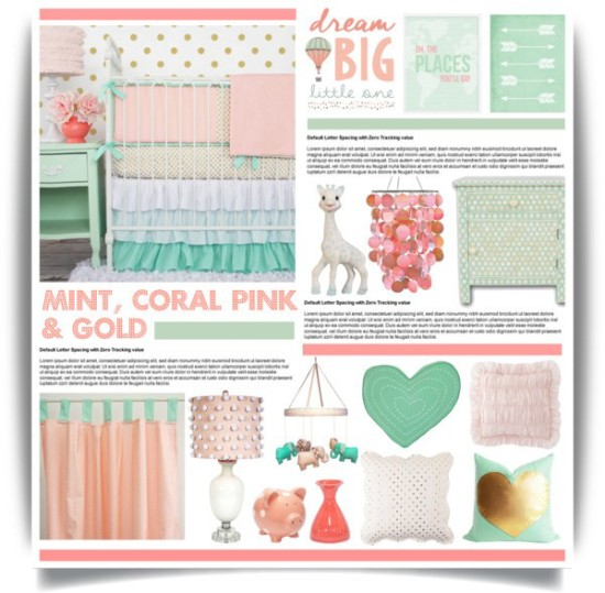 mint, coral and pink baby nursery ideas