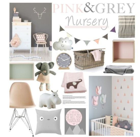 pink and grey baby nursery room ideas