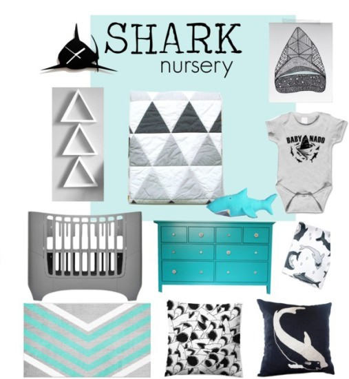 shark baby nursery room ideas, nautical, sea