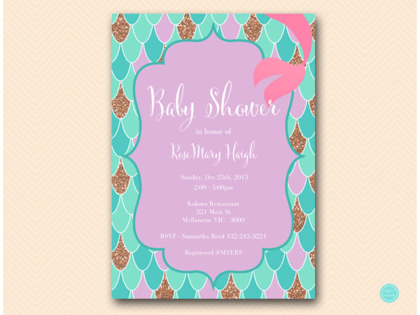 Bs516 Mermaid Baby Shower Invitation Printable
