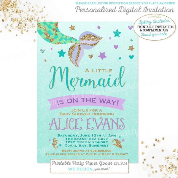 mermaid baby shower invitation little mermaid baby shower