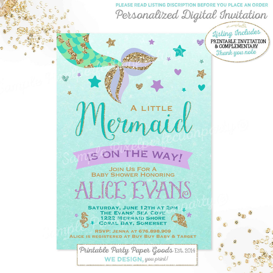 Mermaid Baby Shower Invitation Little Mermaid Baby Shower Baby