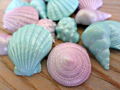 Mermaid Fondant Edible Shells Favor Cake Cupcake Topper Beach Summer
