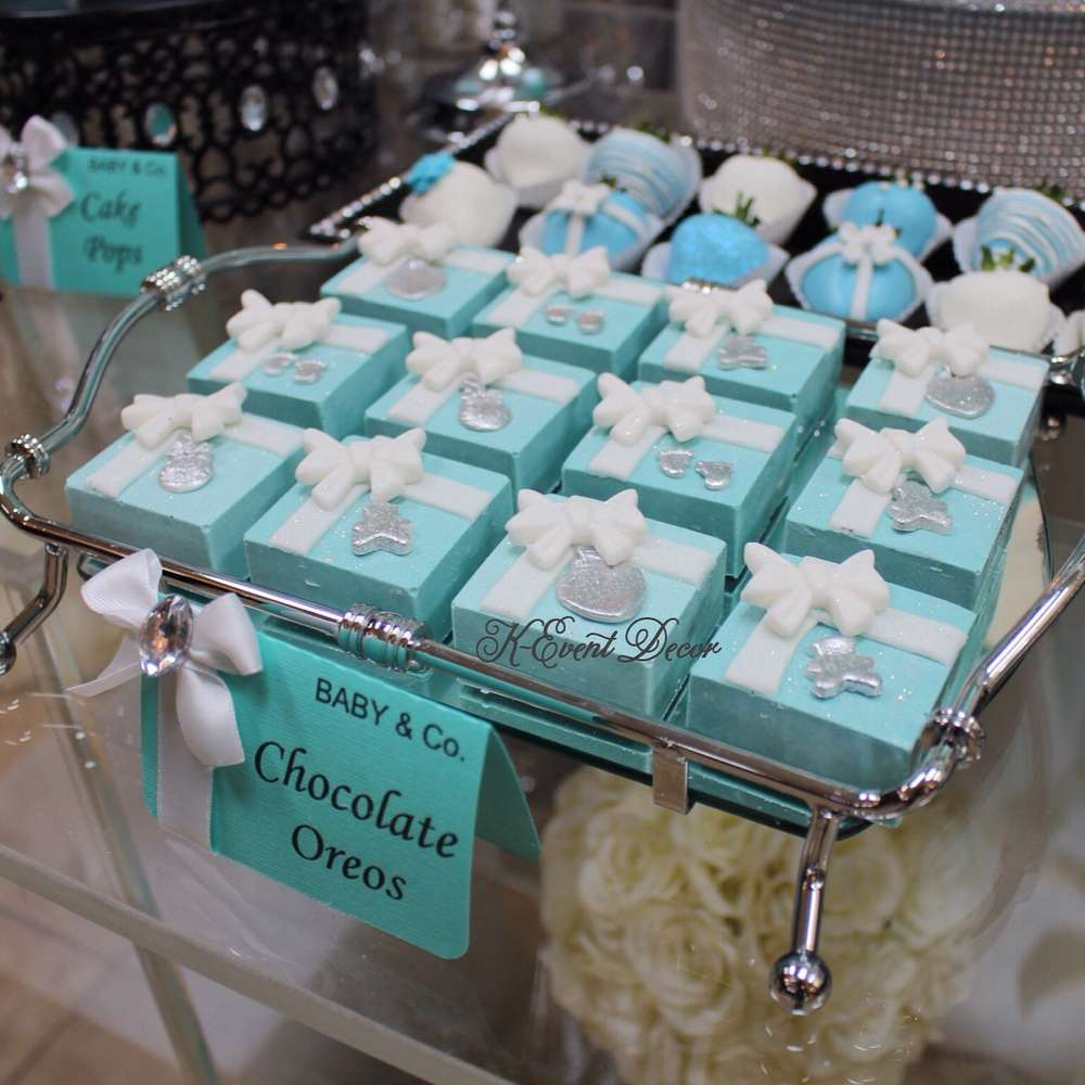 Tiffany themed baby shower chocolate oreos baby shower - Baby shower invitations and decorations ...