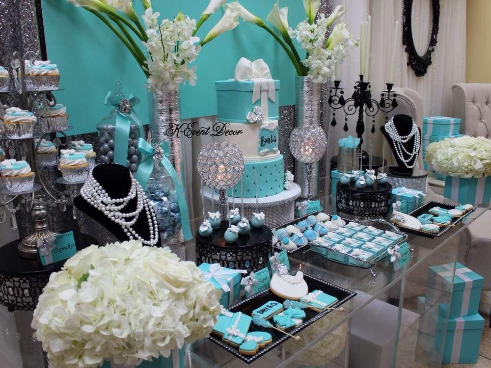 Tiffany Themed Baby Shower Main Table Close Up