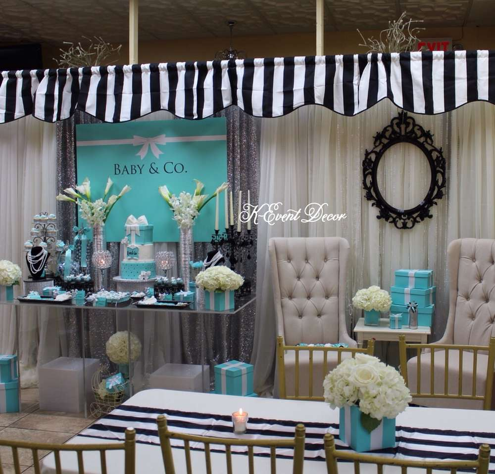 Baby Shower Decorations Table Settings: Tiffany Themed Baby Shower Main Table, Decoration Ideas