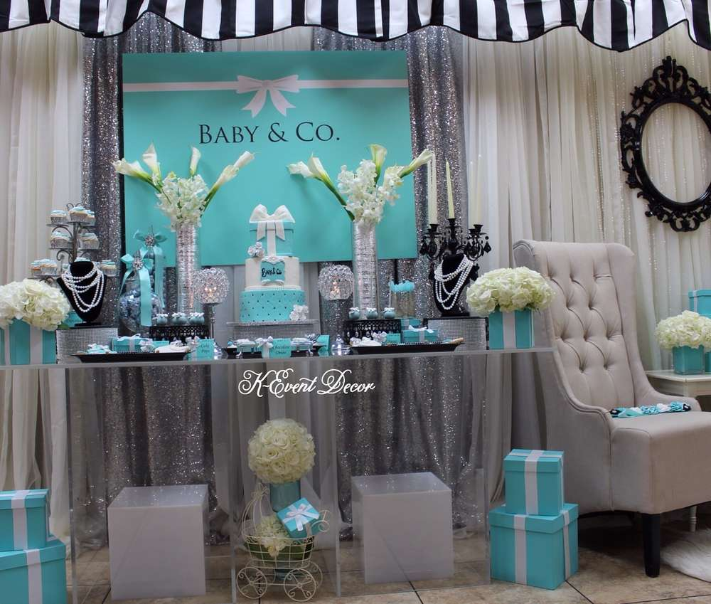 Tiffany themed baby shower main table decoration ideas - Decoration a la main ...
