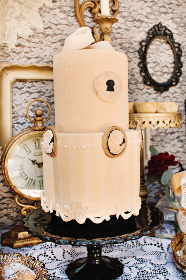Vintage Victorian Baby Shower cake in blush