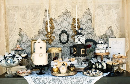 Vintage Victorian Baby Shower dessert table - cookies