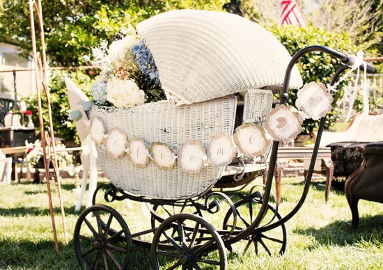 Vintage victorian baby shower baby shower ideas themes for Baby carriage decoration