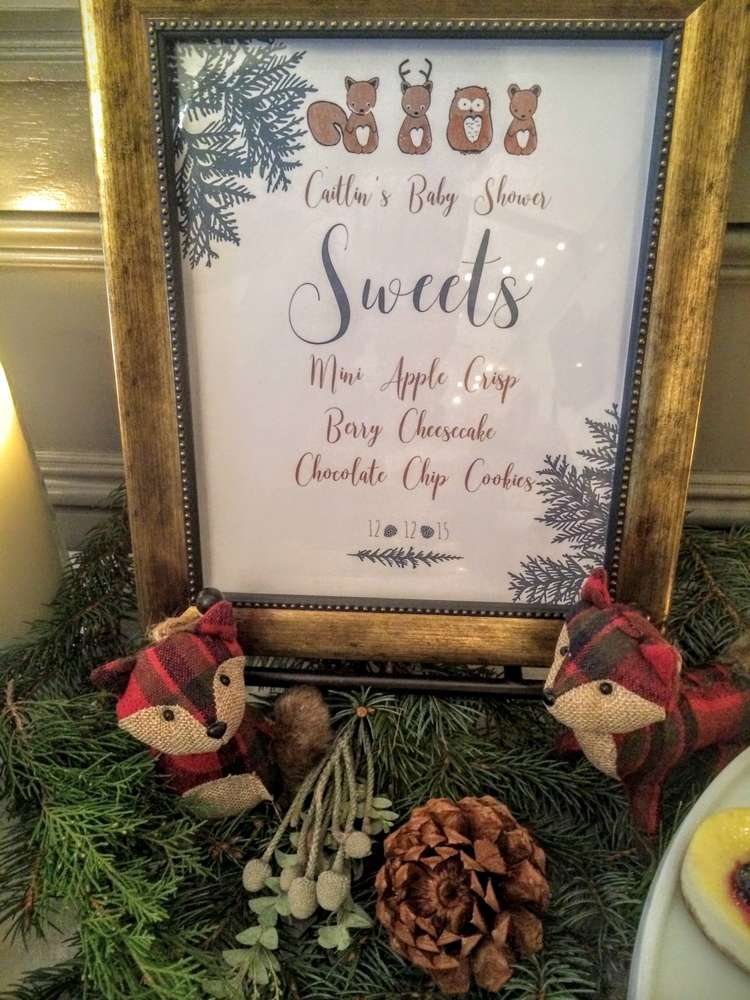 Wintery Woodland Animal Baby Shower Dessert Table Sign Baby Shower