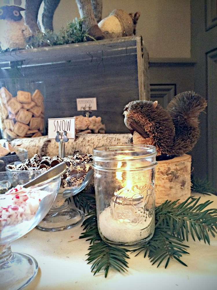 Wintery Woodland Animal Baby Shower Food Table Ideas Decor