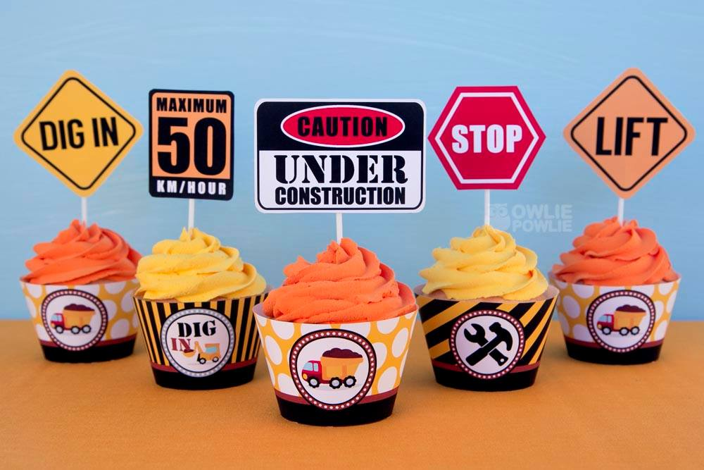 Baby Under Construction Shower Cupcake Toppers